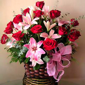 Roses & Lilies Basket